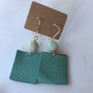 Amazonite & Leather Earrings
